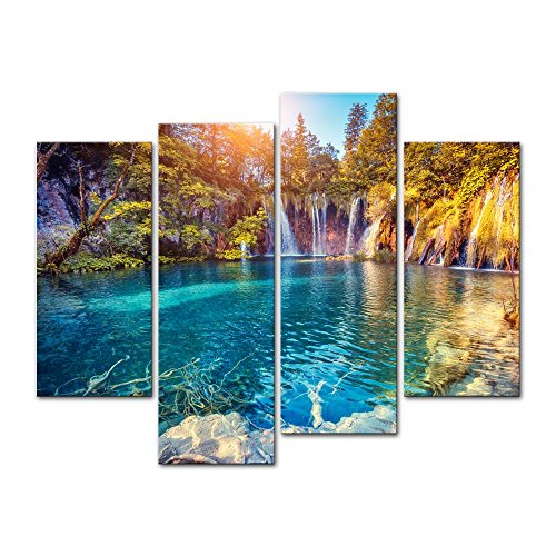 4 Stück Leinwand Modern Art Wand Bild für Home Dekoration türkis Wasser Sunny Beams Plitvice Lakes National Park Kroatien Landscape Mountain Lake Kunstdruck auf Leinwand Art Artwork Wand Decor -