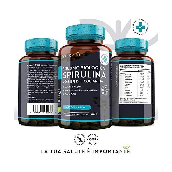 Spirulina Biologica 3000 mg con Ficocianina Grezza 19% - 600 Compresse Vegane - 500mg con Compresse - Prodotto biologico - Prodotto nel Regno Unito da Nutravita 2 spesavip