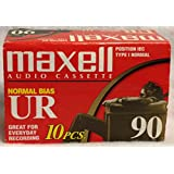 Maxell UR90 Audio Tapes Pack 10 UR-90