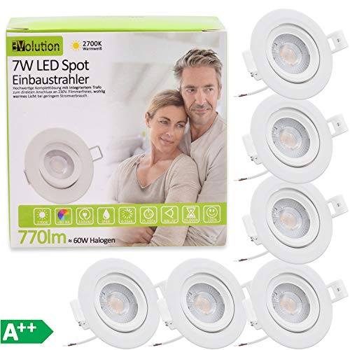 6x Evolution Foco empotrable LED 7W 770lm Proyector IP44 230V 40.5mm Baño...