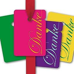 Danke Geschenk Anhänger, Papieranhänger, Geschenk Karten (8Stk) universal Hänge Etiketten in schönen Farben: Danke