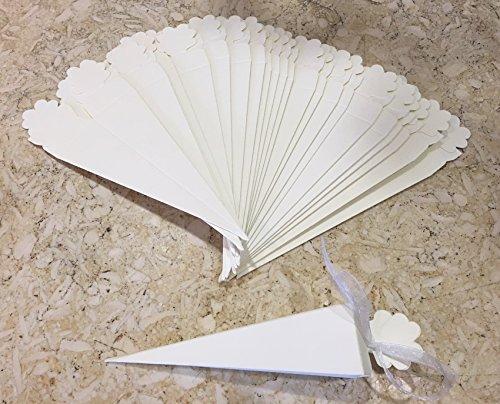 IRPot - 56377 - Lot de 50 cornets carrés en carton pour riz et confettis, ivoire