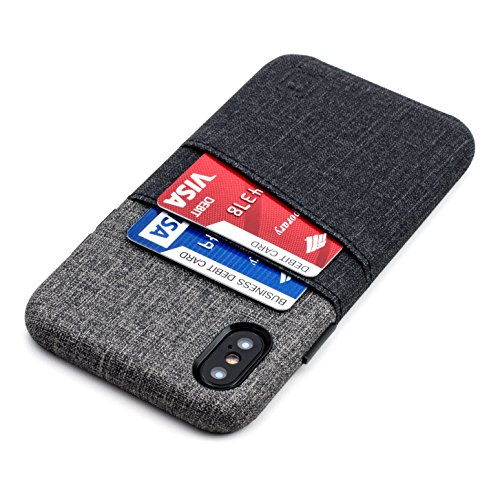 Dockem Luxe iPhone X (10) Handyhülle mit 2x Kartenfach; Minimalistisches Kartenetui aus ultra-griffigem Canvas-Kunstleder; Schlanke Wallet Handytasche; Professionelle Einrastfunktion [Schwarz & Grau] - Faux-leder-empfang