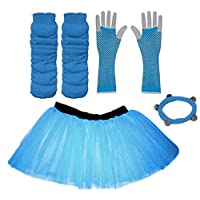 A-Express Child Kids Neon Tutu Skirt Legwarmers Fishnet Gloves UV Fancy Dress Party Costumes Set