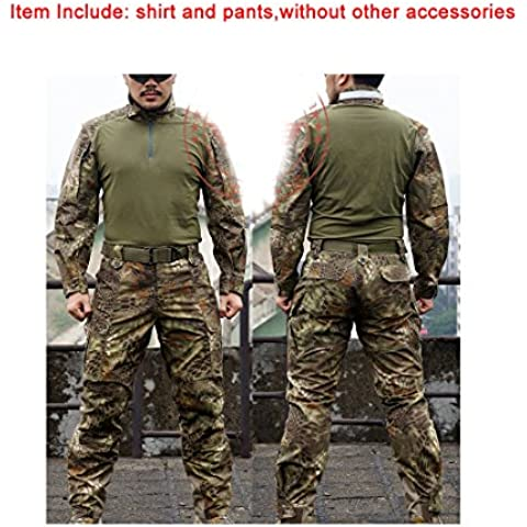 Tactical para hombre–Pantalones para uniforme de combate Camisa y pantalones traje marrón verde Kryptek para al aire libre del ejército militar de Airsoft Paintball juego de guerra Shooting, color Brown Green Kryptek, tamaño L