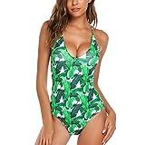 Modfine Bañador Mujer Una Pieza Impreso Floral Deportivo Bikinis Ropa de Baño Verde Talla-S