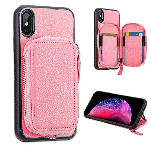 LUXCA Schutzhülle für iPhone XS Max; professionelles Leder, mit Reißverschluss, Geldbörse, Handtasche und Handschlaufe, zum Aufstecken, Pink Rose Gold - Unlocked Att Handys