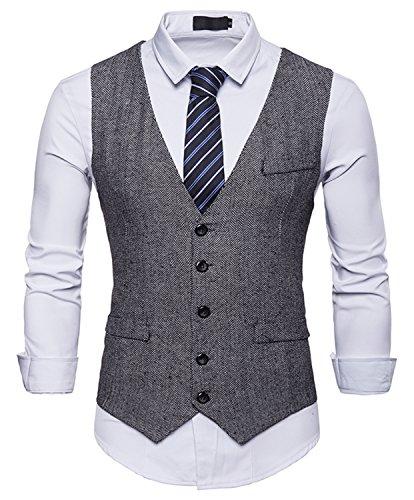 RuiXie Herren Urban Basic Tweed Kariert Weste - Schmale mit Zweireihige Knopfleiste BA0082-gray-XL