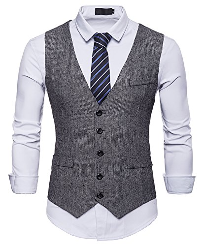 WHATLEES Herren Tweed Kariert Weste - Schmale mit Zweireihige Knopfleiste BA0082-gray-S BA0082-gray-S-new