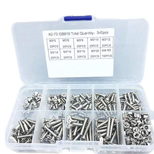 340 pcs M3 304 Acero inoxidable Cruz empotrable tornillo avellanado cabeza plana tornillos Hex Socket...