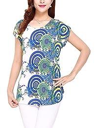 Vintage Camisetas Mujer Manga Corta Blusa Camisa Top con Estampado de Flores Suelta y Cómoda