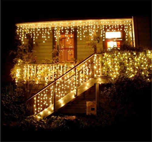 HITOP 96/216 LED 3.5M/5M Eisregen/Eiszapfen Lichterkette Weihnachtsdeko Weihnachtsbeleuchtung Deko Fairy Christmas INNEN und AUSSEN (Warmes Weiß – 5M)