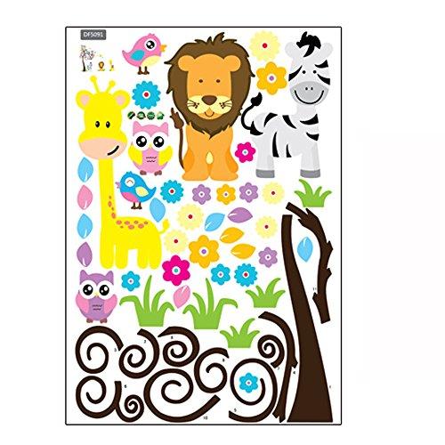 ZARU Kinder de animales para habitaciones de niños etiqueta de la pared ★Búho+Árbol+Cebra+León★extraíble★
