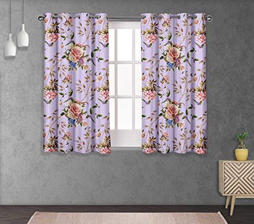 S4sassy anatra di cotone giglio orientale & rose viola floreale tendaggi per tende con occhielli a doppio pannello- 54x56 pollici