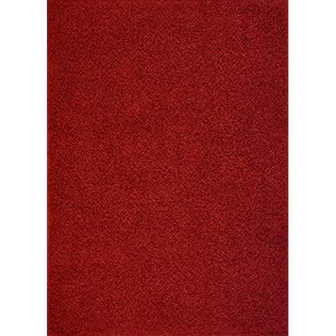 Shaggy Collection Solid Color Shag Area Rugs (Dark Red, 6'7