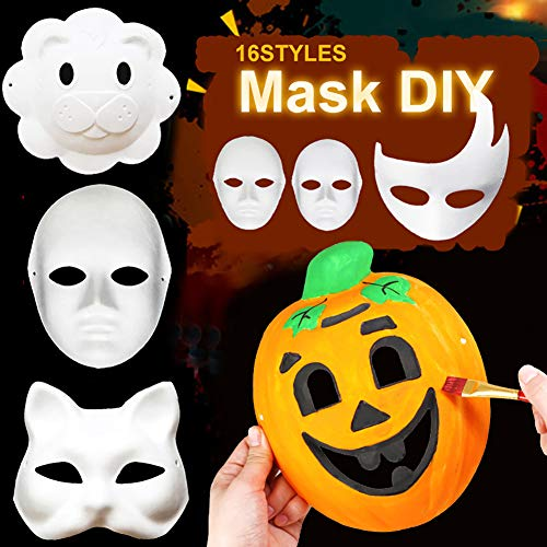 MoMo Honey DIY Painted Paper Face Mask, Leere Farbige Pulp Maske Kinder Lernspielzeug, Handgemachte Kostüm Cosplay Requisiten Handwerk Für Geburtstagsfeier, Ostern, Maskerade Glückverheißende - Mardi Gras Kostüm Männlich