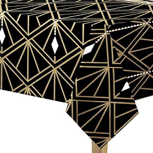 Fancy Me Hollywood Star Schwarz Gold Geburtstag Party Geschirr Kunststoff Tischdecke Dekoration ()