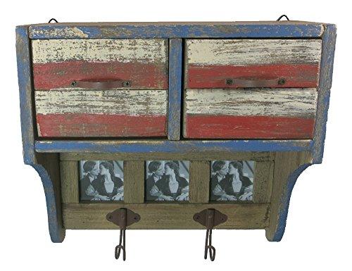 Holz Wandgarderobe Shabby 27,5 x 26,5cm mit 2 Kleiderhaken, 2 Schubladen und 3 Bilderrahmen - rot/weiß/blau/Natur - Deko-Garderobe - Garderobe Vintage - Garderobenschrank -