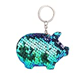 SUCES Schlüsselanhänger Schlüsselbund Keychain Taschenzubehör Anhänger Mode Reflektierende Glossy Schwein Pailletten hängen Tasche Anhänger Geschenk