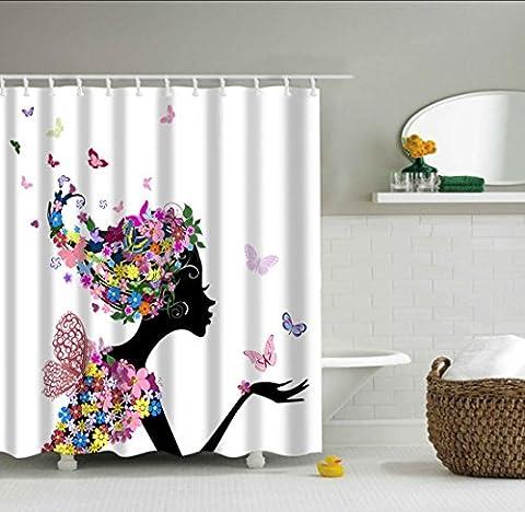SUN-Mädchen-Duschvorhang-Fee-Dekor, rosafarbene Schmetterlinge und Blumen Schönes Glamour-Mädchen mit buntem Blumenkleid