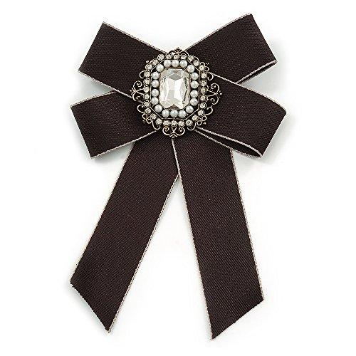 Silberton Vintage inspiriert/Retro Herren und Frauen Universal schwarz Seidenband vorgebundene Fliege Halsband mit Perle und Glas Details-14cm L -
