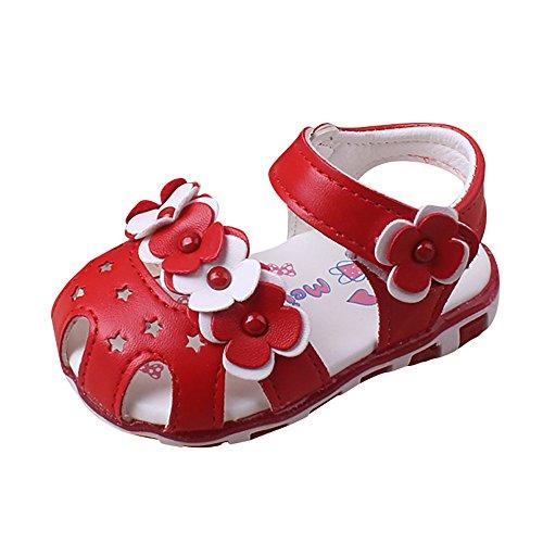 Chaussures Fille, IMJONO Enfants Bowknot à LED Fille Flower Shoes Princess Fashion Single Chaussures Sandales été filles (18-24 mois, Rouge)