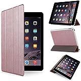 iHarbort® iPad Air 2 Hülle - Premium PU Leder Tasche Hülle Etui Schutzhülle Ständer Smart Cover für iPad Air 2, mit Schlaf / Wach-up-Funktion (iPad Air 2, Roségold)