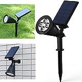 Solarleuchten, solarbetriebene Strahler, 1-pack, wasserdicht, Licht für Aussenbereich, Garten, Rasen, Dämmerungssensor, Bodenspieß
