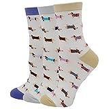 Pomlia® Damen Socken Hunde Motive (OneSize, D01)
