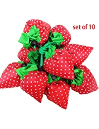 Color A : 10 Pack Of Strawberry Shopping Bags, Ripstop Nylon Reusable Shopping Tote Bag, Expandable ECO Bags (...
