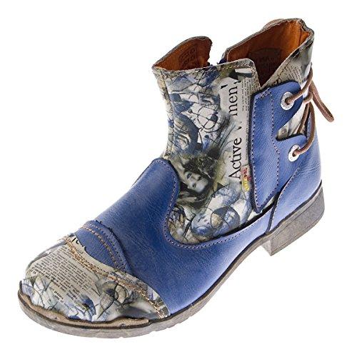 Damen Leder Stiefeletten Comfort Boots Knöchel Schuhe TMA 5116 Halbschuhe Gr. 36 - 42 Blau