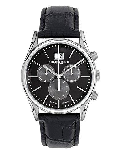 Abeler & Söhne fabricado en Alemania Reloj de hombre con cronógrafo, cristal de zafiro y correa de piel AS3241