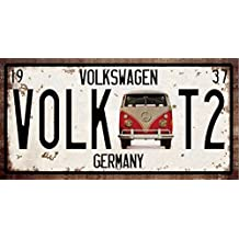 RETRO METAL WALL SIGN TIN VW VOLKSWAGEN CAMPER VAN PLAQUE VINTAGE LICENCE PLATE STYLE T1 T2 SPLITTY BAY by Harrington Marley