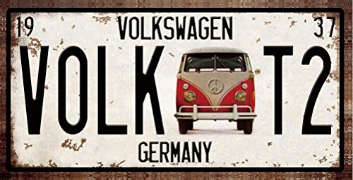 RETRO-METAL-WALL-SIGN-TIN-VW-VOLKSWAGEN-CAMPER-VAN-PLAQUE-VINTAGE-LICENCE-PLATE-STYLE-T1-T2-SPLITTY-BAY