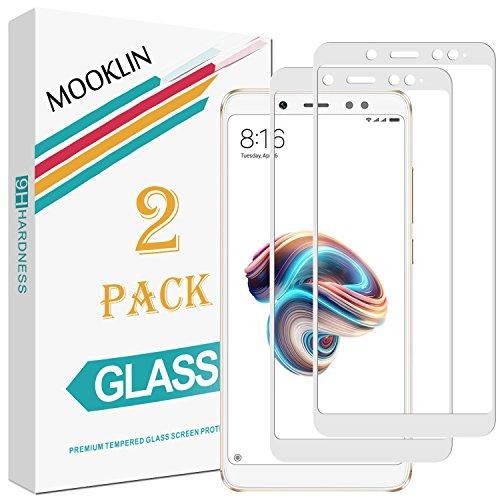 MOOKLIN [2 Stück] Xiaomi Redmi Note 5 Panzerglas Bildschirmschutzfolie,[Volle Abdeckung] [Easy Install Kit] [Anti-Kratzen] Vollständige Abdeckung Handy Schutzfolie für Xiaomi Redmi Note 5 - Weiß