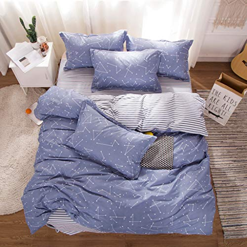 Cenday Fantasy Starry Big Dipper-Serie Ensemble Aus Der Serie Flotte Bleu Ciel Double Couche Doublure Confortable Couverture Hypoallergénique - Roten Bett Ensemble