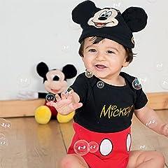 Idea Regalo - Disney, pigiama a body e cappello da bebè, motivo: personaggi Disney