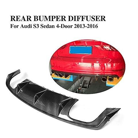 JCSPORTLINE Rear Bumper Diffuser for Audi S3 Sedan 4 Door 2013-2016 (Carbon Fiber, black)