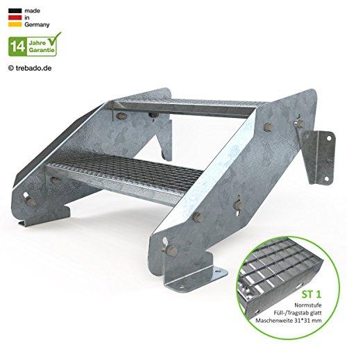 Außentreppe 2 Stufen 60 cm Laufbreite - ohne Geländer - Anstellhöhe variabel von 29 cm bis 44 cm - Gitterroststufe ST1 - feuerverzinkte Stahltreppe mit 600 mm Stufenlänge als montagefertiger Bausatz