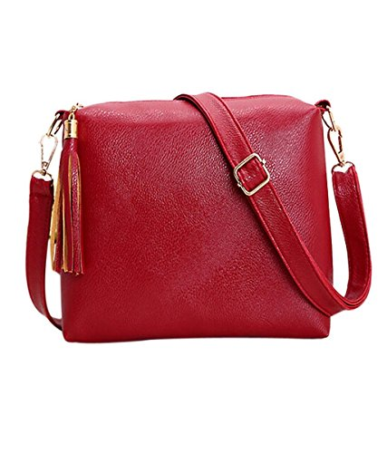 Sac à main, FEITONG® Rétro Femmes Gland Cuir Sac à main Crossbody sacs à bandoulière Rouge