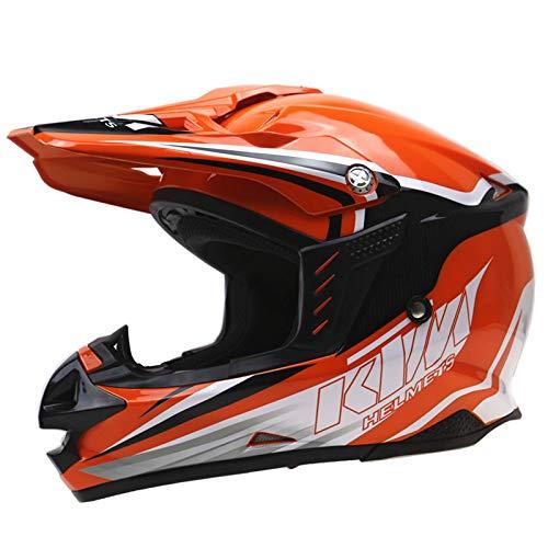 toukui Motorradhelm Männlich Weiblich Harley Vollgesicht Helm Halb Helm ABS Winddicht Schalldicht Doppelschirm Vier Jahreszeiten Reiten,Orange-XL