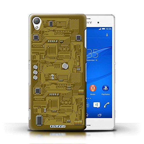Kobalt® Imprimé Etui / Coque pour Sony Xperia Z3 / Rouge conception / Série Circuit Board Jaune