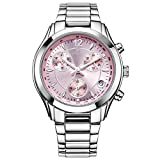 CENXINO Damen Chronograp Japanisches Quarzwerk Armbanduhren mit Edelstahl Armband L7007 Rosa