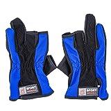 Little Sporter Anti-Rutsch Handschuhe, Outdoor Klettern Radsport Handschuhe / Angler 3-Finger Handschuhe, ideal für Fischen, Angelsport Blau