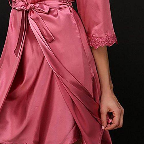 Aivtalk Ensemble de 2Pcs Luxe Peignoir Satin Robe de Chambre Sexy Vêtement de Nuit Chemise de nuit en Soie Imitant Pyjama Dentelle Col-V Rouge Clair