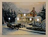 LED Wandbild Winterhaus beleuchtet Pferde Kutsche 30cm x 40cm Leinwand Bild Winter Motive