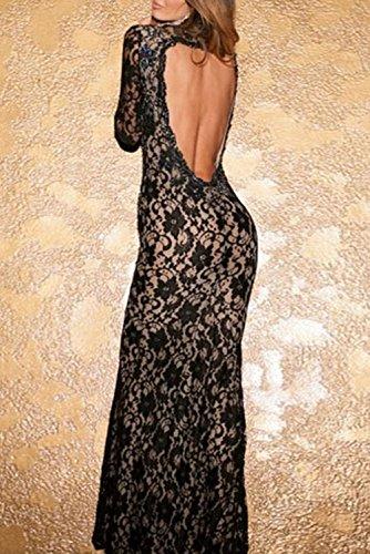 E-Girl femme Noir SY6779 longue Robe Noir