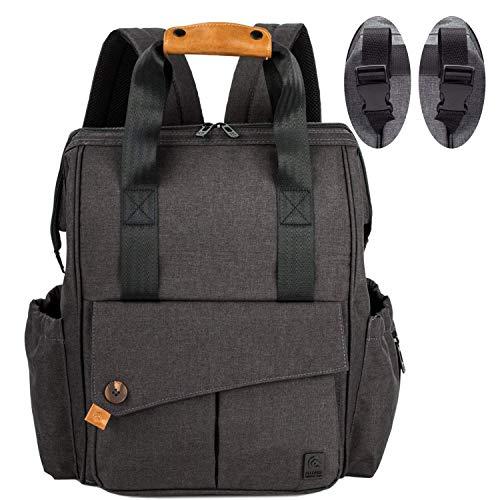 ALLCAMP Baby Wickelrucksack Wickeltasche Rucksäcke mit Wickelauflage großer Kapazität Taschen, Große Kapazität Babyrucksack Kein Formaldehyd Reiserucksack unterstützen jeden Kinderwagen(dunkelgrau)