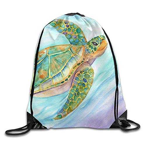 HIDFAA Kordelzug Bag Swimming Smiling Sea Turtle Marionette Taboniar Drawstring Backpack Travel Bag Gym Outdoor Sports Portable Drawstring Beam Port Backpack for Girl Boys Woman Female