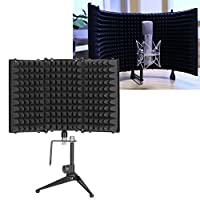 Wakects Professional Microphone Isolation Shield, Adjustable Sound Dampening Acoustic Screen with Bracket, Foldable Studio Mic Microphone Screen